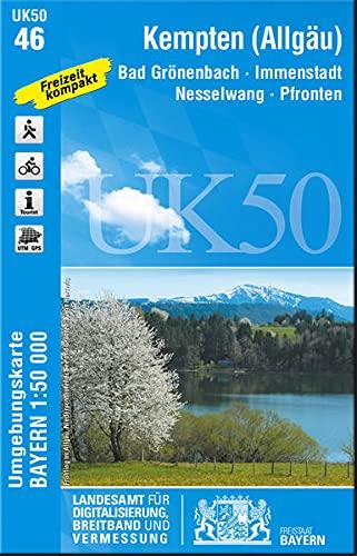 UK50-46 Kempten-Allgäu 1:50 000: Bad Grönenbach - Immenstadt - Nesselwang - Pfronten (UK50 Umgebungskarte 1:50000 Bayern Topographische Karte Freizeitkarte Wanderkarte)