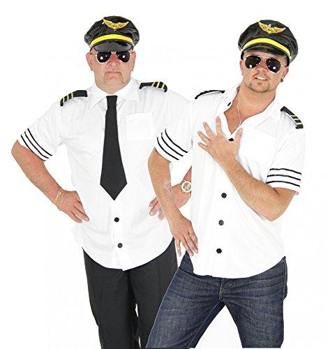 Foxxeo Piloten Kostüm für Herren Pilot Karneval Fasching Pilotenkostüm weiß Sexy Größe L