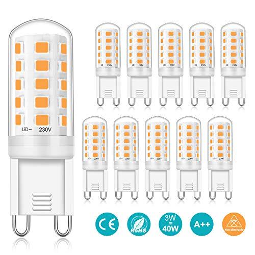 G9 Led Warmweiß, 3W Ersetzt 40W, LED G9 Lampe 2700K Warmweiss Leuchtmittel, CRI>85, 410LM, AC 220V-240V, Nicht Dimmbar, Flackerfrei, G9 Birne Glühbirne Lampen, 10er-Pack, Viaus