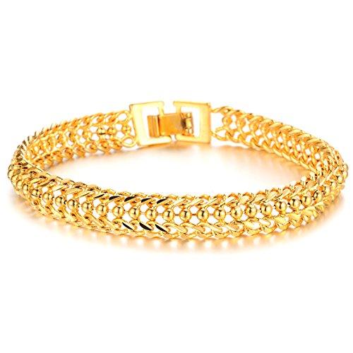 Único 18K chapado en oro pulsera de cadena de gemelos para hombre oro tono alto polaco