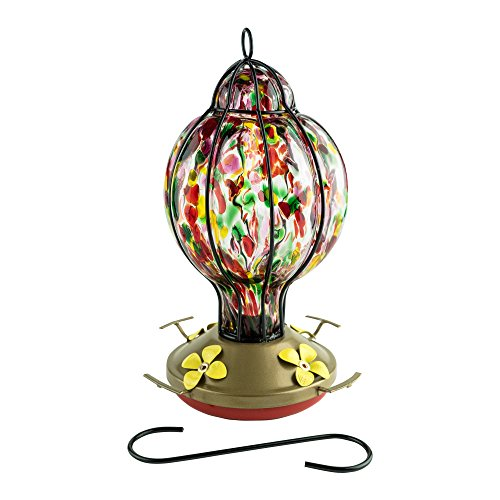 Best Home Products Hummingbird Feeder with Perch - Blown Glass Feeders   Rainbow Treat