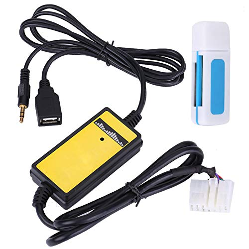 Interfaz de audio para automóvil, adaptador de entrada auxiliar USB Cable de reproductor de MP3 Interfaz de audio de radio para RAV4
