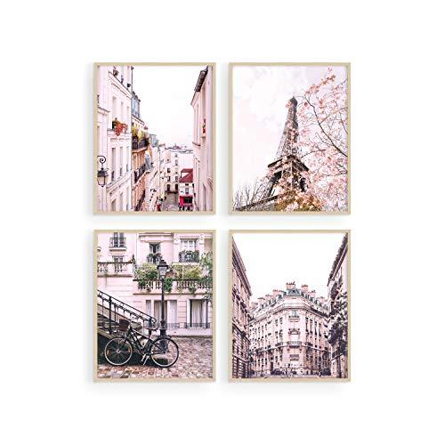 Pink Paris Wall Decor - by Haus and Hues | Paris Wall Art and Paris Decor for Bedroom | Paris Decor for Bedroom for Girls | Paris Bathroom Decor (8' x 10', UNFRAMED)
