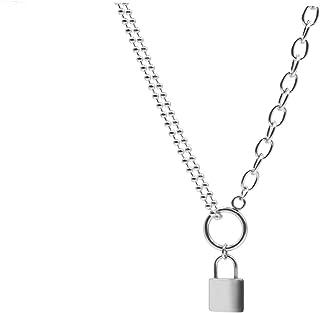قفل قلادة مفتاح متعدد الطبقات سلسلة ستانلس ستيل قلائد للفتيات والأولاد والنساء