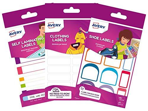 Avery - Etichette per il nome della scuola, 36 etichette (non stirare), 24 etichette resistenti per scarpe, 24 etichette impermeabili per il pranzo e la bottiglia d'acqua