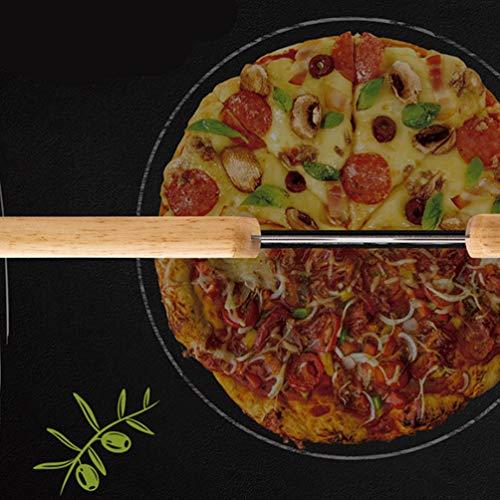 BESTOMZピザカッターステンレス鋼ピザチョッパーロッカーピザスライサー木製ハンドルパイカットツールキッチン用