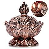 mengger Incensiere Lotus, Bruciatore Incenso Chiesa Buddista Riflusso Mini Metallo Rame Cono Fumo Aromaterapia della Stufa per Decorazione Domestica Accessori del Regalo incensiere