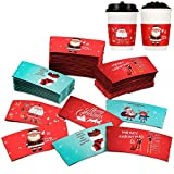 60 Pieces Christmas Cup Sleeve, Santa Stocking Reindeer Disposable Paper Coffee Cup Sleeves Hot and Cold Tea Cup Sleeves Christmas Decor for Coffee Shop, Coffee Bar and Office