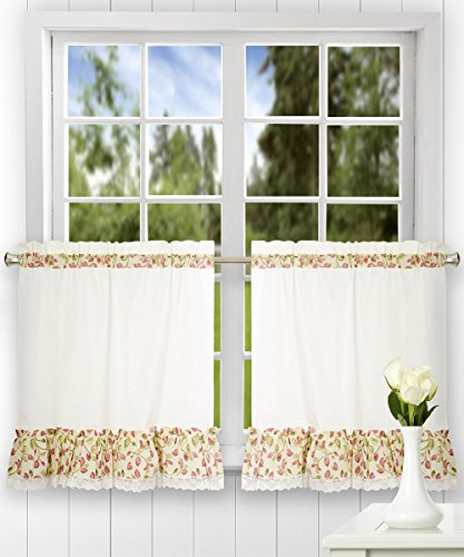 Ellis Curtain Clarice 58-by-36 Inch Ruffled Tailored Tier Curtains, Red