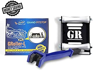 Motorcycle Wheel Cleaning Stand - Wheel Roller Stand for tire Cleaning & Chain Lubrication - GRoller with Chain Cleaning Brush (Large (Bikes < 600lb Dry wt & Tyre Width <240 mm))