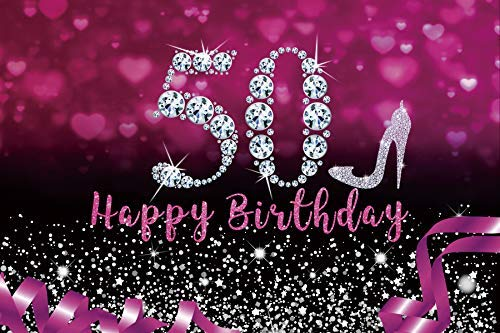 Yeele 7x5ft Happy 50th Birthday Backdrop for Women Glitter Purple Silver High Heel Photography Background Women Ladys Fifty Years Birthday Party Decoration Portrait Photoshoot Props