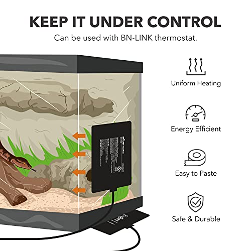 BN-LINK Reptile Heating Pad Electric Indoor Under Tank Terrarium Heating Mat Waterproof for Turtles, Lizards, Frogs, and Other Reptiles, 6