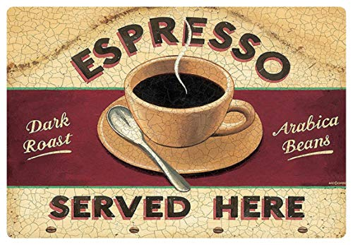 Metalen bord 30x20cm espresso koffie Cafe Bar Coffee Arabica bonen bord bistro