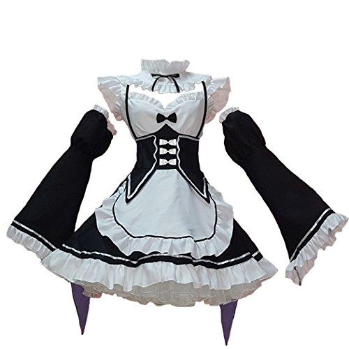 Ainiel Women's Maid Costume Anime Cosplay Lolita Fancy Dress Stockings Headwear(Large) Black White