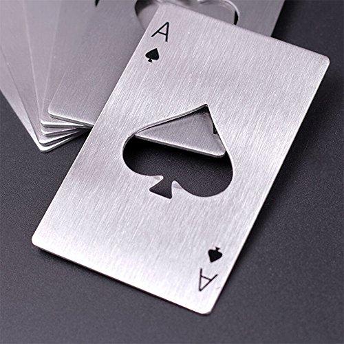 Hopefultech 4 Pezzi Tappo di Bottiglia di Birra Opener offrono Acciaio Inossidabile Carta da Gioco Ace apribottiglie Birra Apri nel Disegno Carte da Poker in Acciaio Inox di Alta qualità