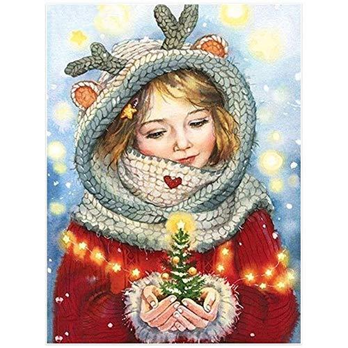 5D Pintura de Diamante kit DIY Completo Diamond Painting por Número Navidad niña Full Drill Crystal Rhinestone Resina Bordado Cruz Puntada Art Decor de Casa Salón S9829 Taladro redondo,50x70cm