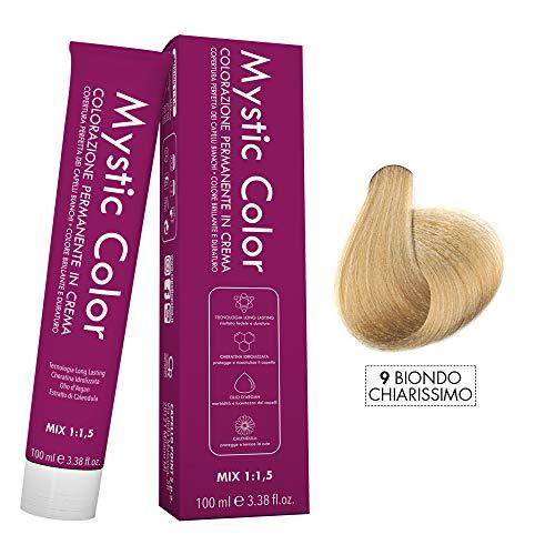 Mystic Color - Crème Colorante Permanente à l'Huile d'Argan et au Calendula - Coloration Longue Durée - Couleur Blond Super Léger 9 - 100ml