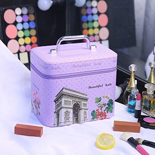 Boîte de rangement cosmétique sac cosmétique cosmétiques plein air voyage mode bain organisateur de maquillage maquillage stockage de brosse de maquillage cadeau de petite amie surprise garçons pour les filles porte-rouge à lèvres sac portable imperméable femme-F