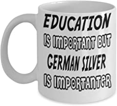 Awesome German Silver Gifts 11oz Coffee Mug - Edication Is Important - Best Inspirational Gifts and Sarcasm Rabbits Lover ak5260