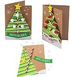 4E's Novelty Christmas Card Making Craft Kit for Kids (12 Pack) Christmas Tree Card, DIY Handmade Xmas Greeting Card - Fun Holiday DIY Project Christmas Party Invitation Card Activities