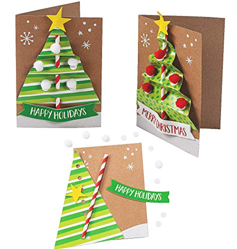 4E's Novelty Christmas Card Making Craft Kit for Kids (12 Pack) Christmas Tree Card, DIY Handmade Xmas Greeting Card - Fun Holiday DIY Project Christmas Party Invitation Card Activities