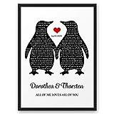 Dein Song Pinguin ABOUKI Kunstdruck Poster Bild mit eigenem Text personalisiert Geschenk-Idee für Sie Ihn Frauen Männer Freund-in Liebes-Paar optional mit Holz-Rahmen