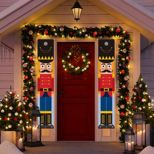 Decorlife Outdoor Christmas Porch Sign Decorations, Life Size-Nutcracker Front Door Decor, Merry Christmas Decoration for Yard Indoor Home