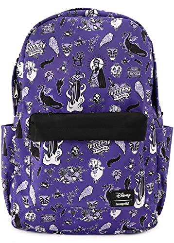Loungefly x Disney Villains Icons AOP Purple Sac à Dos pour Ordinateur Portable