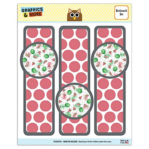 Watercolor Watermelons Pattern Set of 3 Glossy Laminated Bookmarks