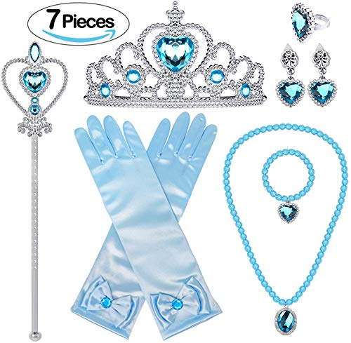 Bonallo Princess Dress Up Accessories Set for Girls Jewelry with Crown Scepter Necklace Earrings Gloves Rings Bracelets Blue (7pcs)