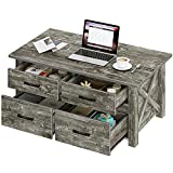Rolanstar Coffee Table with Storage, Farmhouse Coffee Table with 4 Drawers and Shelves, Large...