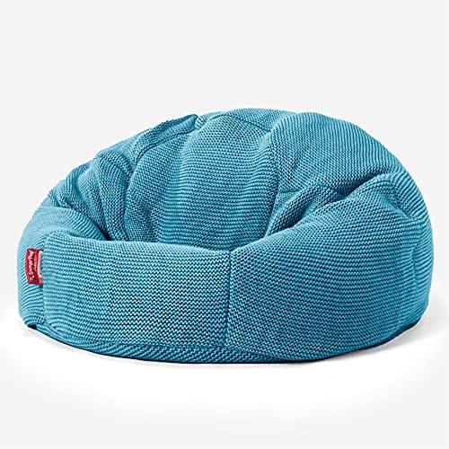 Lounge Pug, Puff Redondo con Escabel, Ellos Punto Grueso Azul petróleo