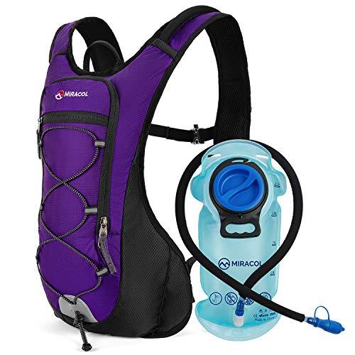 MIRACOL Trinkrucksack mit 2 l BPA-freier Blase, leichter Trinkrucksack für Laufen, Wandern, Klettern, Radfahren, Skifahren (lila)