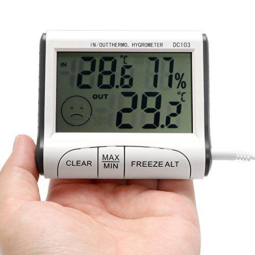 Runy Wetterstation Digitales LCD-Thermometer Hygrometer Sensor Tester Alarm Temperatur Luftfeuchtigkeit Messgerät Display Innen Außen Elektronisch
