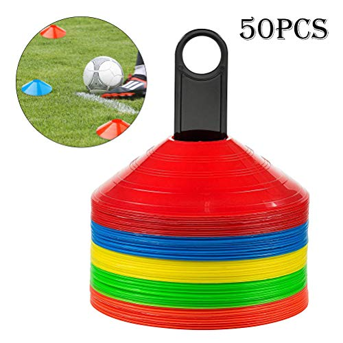 Haploon Soccer Football Agility Cones Disc Cones(Set of 50),with Storage Holder,Easy-Stack, Multi-Colored Disc Cone Ideal for Speed Training, Kids, Coaches,Field Cone Markers and All Sports