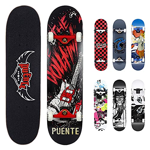 NACATIN Skateboard Deck, Adults Kids Skateboard,Complete Board with ABEC-9 Bearing 7-layer 92A Hard Maple Deck,31 x 8 x 4 lnches load 400-485 lb for beginners and professionals