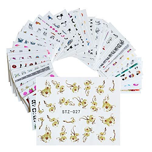 RXBGPZZJT Autocollant ongle 50 Feuilles Mixte 50 Modèles Nail Art Autocollant De Transfert D'Eau Diy Bande Dessinée/Fleur Beauté Stickers Nail Art Décorations Jistz50