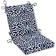 "Pillow Perfect Outdoor | Indoor New Damask Marine Squared Corners Chair Cushion,Blue,36.5"" x 18"""