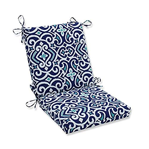 """Pillow Perfect Outdoor/Indoor New Damask Marine Square Corner Chair Cushion, 36.5"""" x 18"""", Blue"""