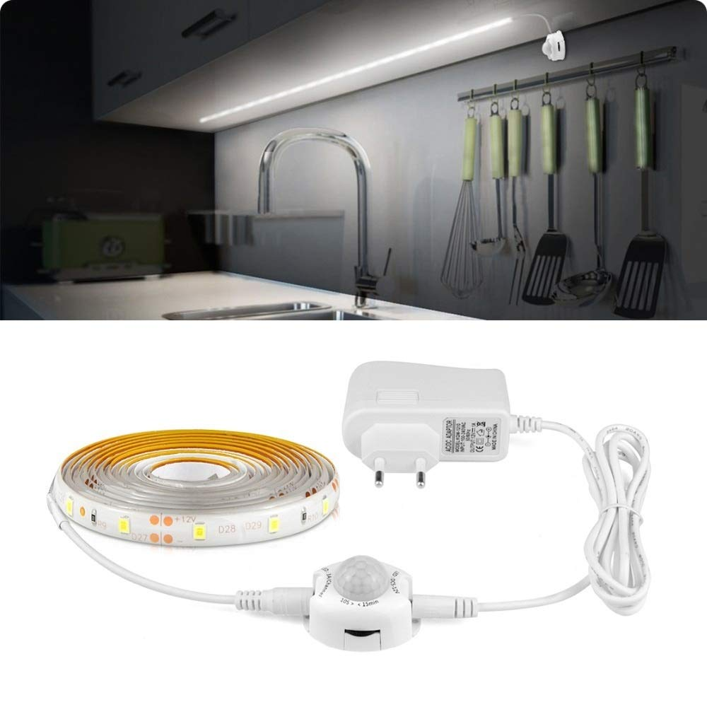 AMNVBD Sensor de Movimiento PIR inalámbrico Luz de Tira LED 12V Encendido/Apagado automático Escalera Armario Armario Cocina Lámpara de Noche 110V 220V 1M 2M 3M 4M 5M: Amazon.es: Hogar