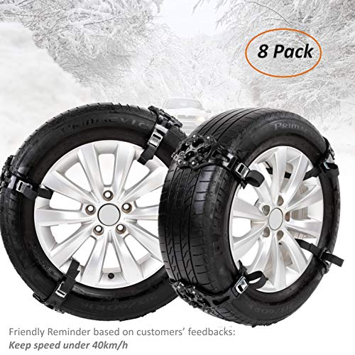 Fun-Driving Anti Snow Tire Chains, Snow Chains for Car,Snow Chains for Trucks,Snow Chains for SUV,Universal,Adjustable and Durable,with Tire Width 165-275mm/6.5''-10.8'' (8 Pack)