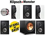 5 Klipsch R-2650-W II 6.5' Horn Loaded In-Wall Speaker - Each + Klipsch R-115SW 800 Watt Subwoofer + Monster - Platinum XP Clear Jacket MKIII 50' Compact Speaker Cable - Clear/Copper Bundle