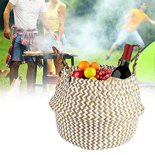 JULYKAI Seagrass Belly Basket, Natural Woven Seagrass Basket, Woven Basket with Handle...