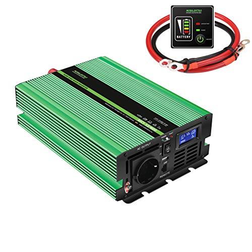 MOBILEKTRO® 600W Reiner Sinus Wechselrichter 12V auf 230V MCI-12/600 Spannungswandler mit integriertem 20A Ladegerät mit NVS- und USV-Funktion Inverter Konverter incl. Fernsteuerung und LCD-Anzeige