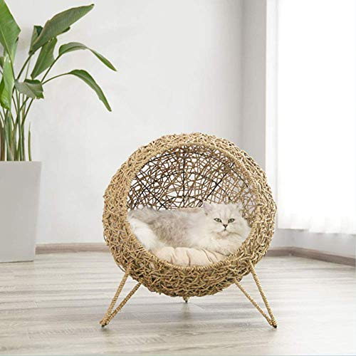 Cama del Gato, Gato de Mimbre para Mascotas Cama Dormir Cueva Casa Hecha a Mano del Gato Cesta con Suaves Cojines