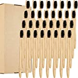 32 Pieces Biodegradable Bamboo Toothbrushes Natural Toothbrush Compostable Wood Bamboo Toothbrush with Slim Soft Bristles for Teens and Adult (Black Brush Head)