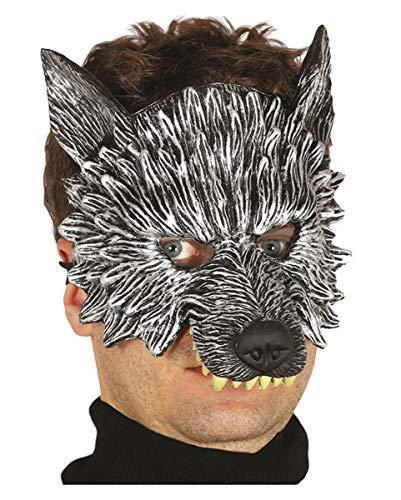 Horror-Shop Wolf Halbmaske für Fasching & Halloween