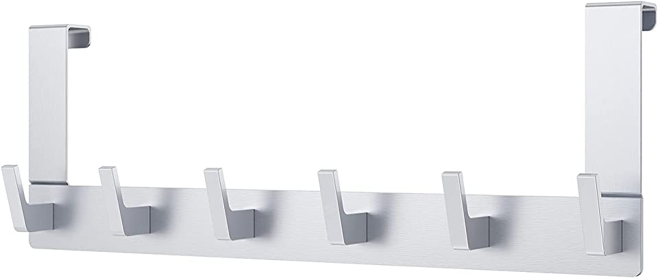 Dohomai Türhaken Zum Einhängen, Türgarderobe mit 6 Haken - Kleiderhaken Tür für Badezimmer Türhakenleiste Moderne Türhänger - Handtuchhalter Tür Bad - Jackenhalter Tür   Einzigartigem Haken Design