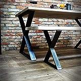 """FURVOKIA 1 par de patas de metal industrial rústico tipo X, patas de mesa de muebles, mesas de comedor y patas de mesa auxiliar y patas de banco (solo patas de 15,7""""de alto x 11,8"""" de ancho, negro)"""