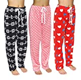 3 Pack MF: Pajama Pants for Women Soft Plush Fleece Ladies Fuzzy PJ Pajamas Women's Warm Lounge Elastic Bottoms Womens Christmas Winter Cozy Sleepwear Clothes Sets - Set 4,L